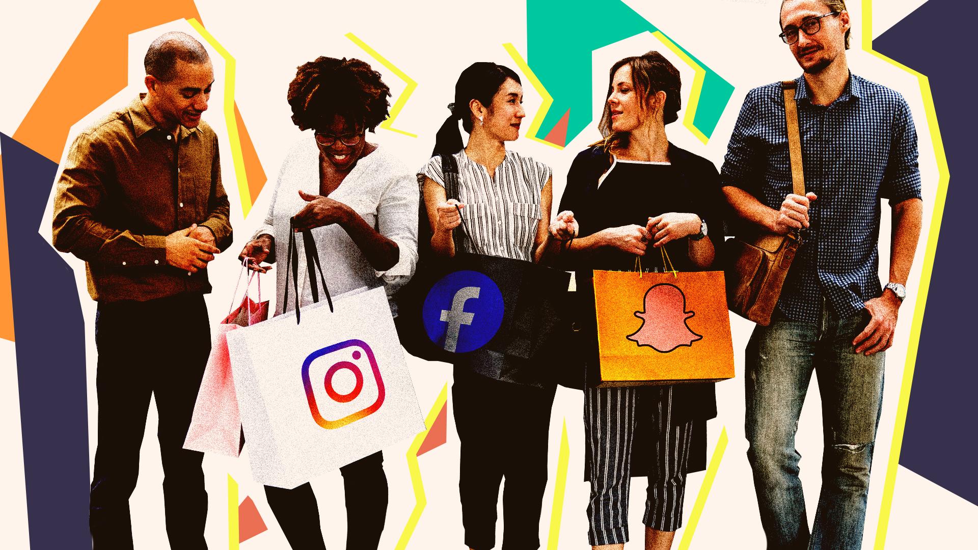 People using social media marketing