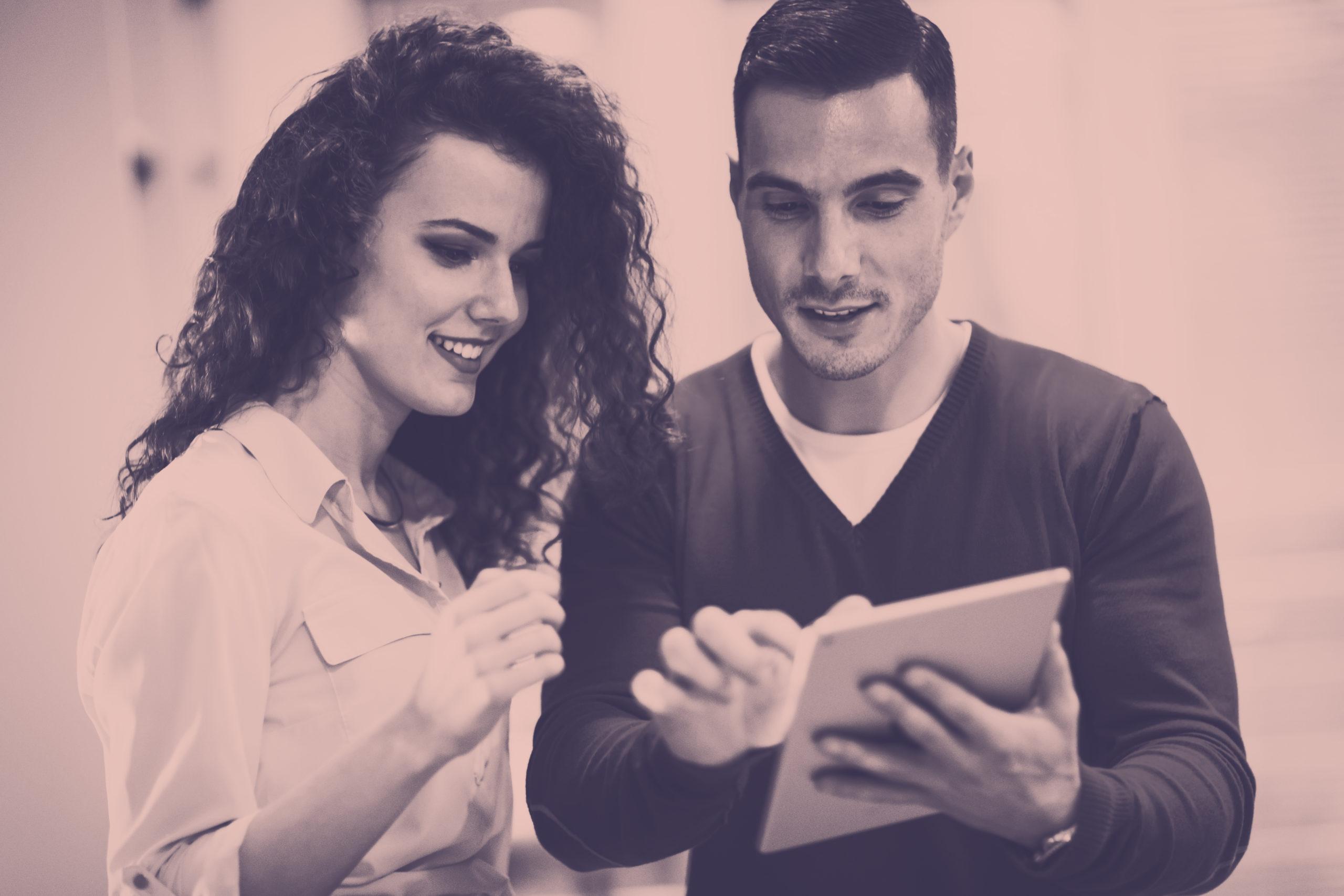 People looking at screen